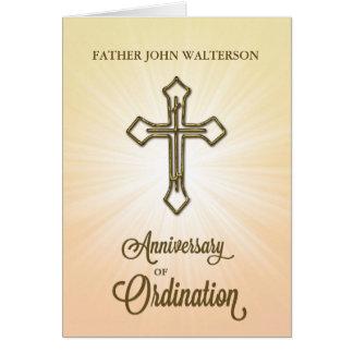 1r Aniversario de la ordenación, cruz del oro en Tarjeta De Felicitación