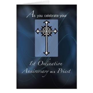 1r Aniversario de la ordenación del sacerdote Tarjeta De Felicitación