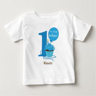 1r Azul de la magdalena del cumpleaños Camiseta
