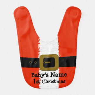 1r babero de Santa del navidad del bebé