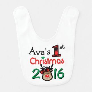1r babero del navidad del reno de Navidad del