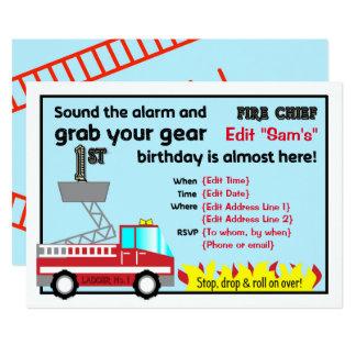 1r bombero de las invitaciones de la fiesta de