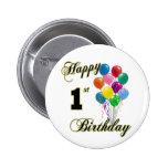 1r botón del cumpleaños y ropa felices del cumplea pin