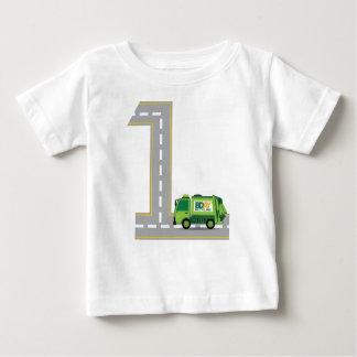 1r Camión de basura del cumpleaños Camiseta De Bebé