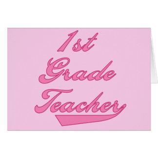 1r Camisetas y regalos del rosa del profesor del g Tarjeta De Felicitación