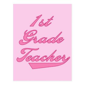 1r Camisetas y regalos del rosa del profesor del Postal