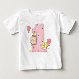 1r Chica del cumpleaños Camiseta Para Bebé