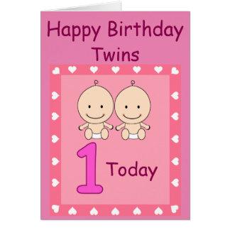 1r Chicas gemelos del cumpleaños de encargo Tarjeta De Felicitación