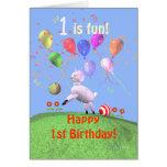 1r cordero y globos felices del cumpleaños felicitacion