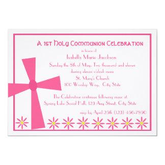 1r Cruz y flores de la comunión Invitación 12,7 X 17,8 Cm