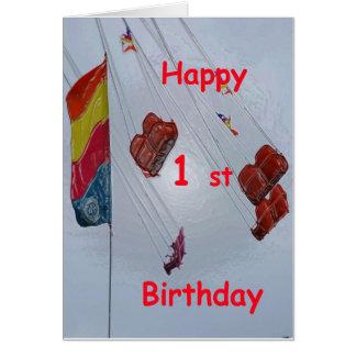 1r cumpleaños de la diversión felicitacion