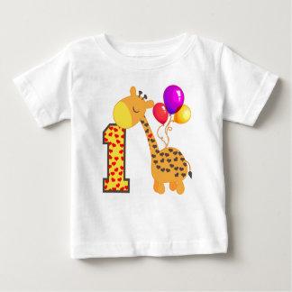1r cumpleaños de la jirafa camiseta de bebé