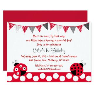 1r cumpleaños de la mariquita roja linda invitación 12,7 x 17,8 cm