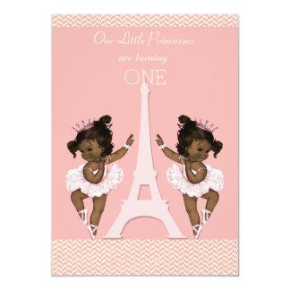 1r cumpleaños de los gemelos de la torre Eiffel Invitación 12,7 X 17,8 Cm