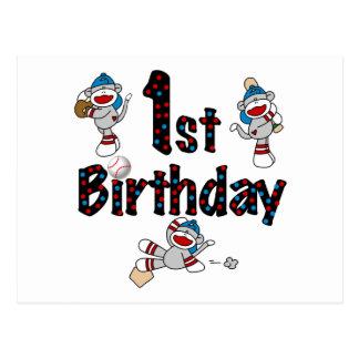 1r Cumpleaños del béisbol del mono del calcetín Postal