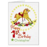 1r cumpleaños del caballo mecedora felicitacion