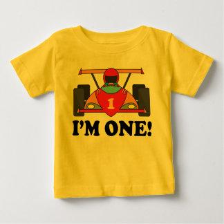 1r cumpleaños del coche de carreras soy una camiseta de bebé