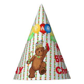 1r cumpleaños del personalizado real del oso gorro de fiesta