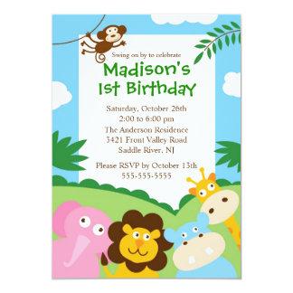 1r cumpleaños del safari lindo invitación 12,7 x 17,8 cm
