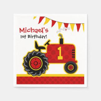 1r cumpleaños del tractor rojo servilleta de papel