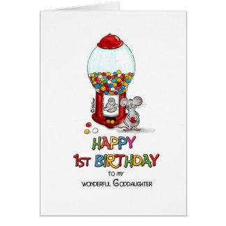 1r cumpleaños feliz a la ahijada tarjeta de felicitación