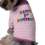 1r cumpleaños feliz - camisa del perro del cumplea camisa de perro