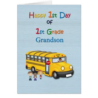 1r día feliz de 1r grado, nieto, autobús escolar tarjeta de felicitación