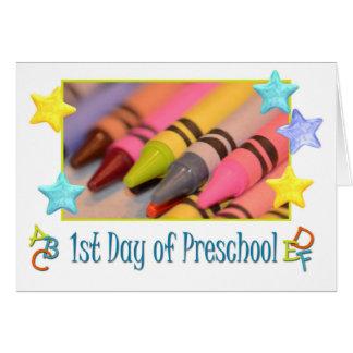 1r día feliz de preescolar, creyones felicitación