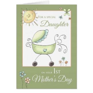 1r El día de madre - hija especial - bebé Carriag Tarjeta De Felicitación