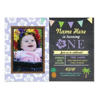 1r El fiesta tropical de la foto de la hawaiana Invitación 12,7 X 17,8 Cm