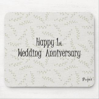 1r feliz. Aniversario de boda Alfombrilla De Raton