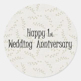 1r feliz Aniversario de boda Pegatinas Redondas