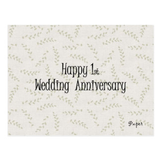 1r feliz. Aniversario de boda Postal
