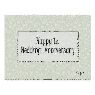 1r feliz Aniversario de boda Tarjeta Postal