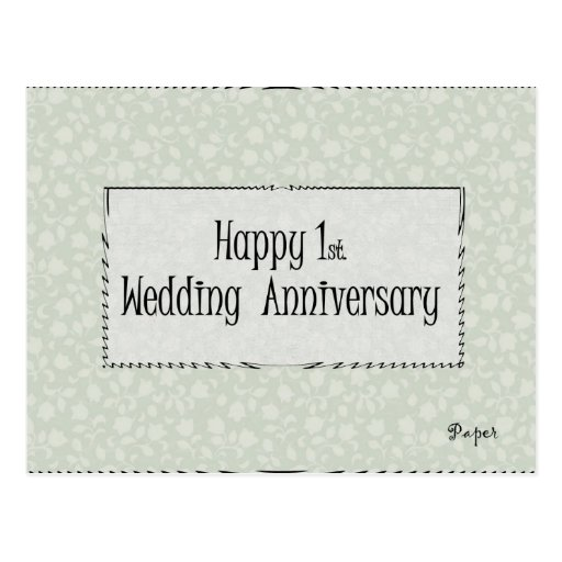 1r feliz. Aniversario de boda Tarjeta Postal