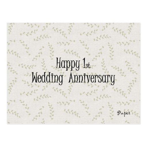 1r feliz. Aniversario de boda Tarjetas Postales