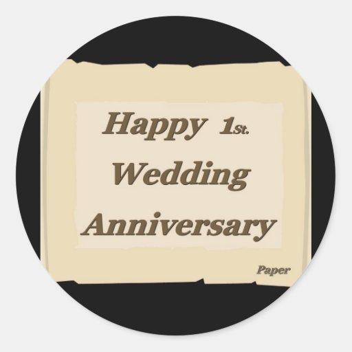 1r feliz. Papel de aniversario de boda Pegatina Redonda