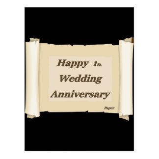 1r feliz. Papel de aniversario de boda Postal