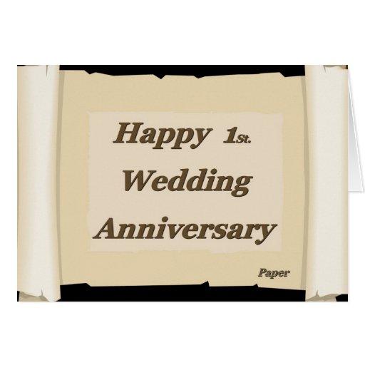 1r feliz. Papel de aniversario de boda Tarjetón