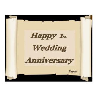 1r feliz. Papel de aniversario de boda Tarjeta Postal