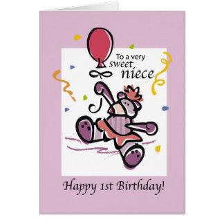 1r globo del oso del cumpleaños de la sobrina tarjeta de felicitación