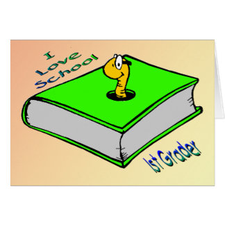1r graduador del ratón de biblioteca - escuela del tarjeta de felicitación