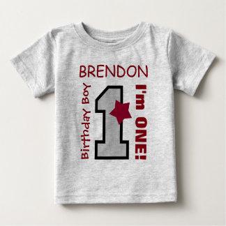 1r GRIS del muchacho del cumpleaños un nombre de Camiseta De Bebé