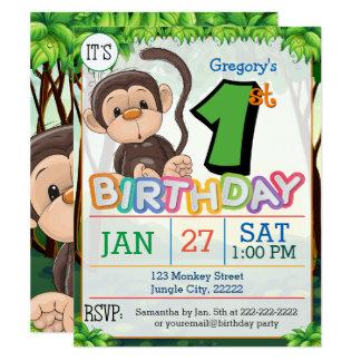1r Invitación del mono de la fiesta de cumpleaños