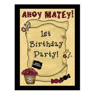 1r Invitaciones del pirata del cumpleaños Postal