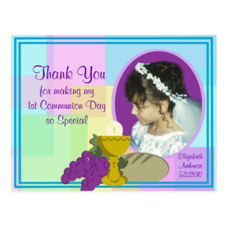 1r La comunión le agradece foto Postal