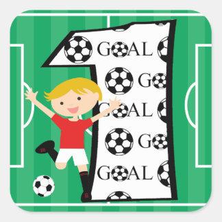 1r Meta roja y blanca del cumpleaños del fútbol Pegatina Cuadrada