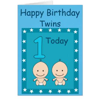 1r Muchachos gemelos del cumpleaños de encargo Tarjeta De Felicitación