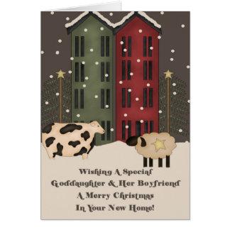 1r navidad de la ahijada y del novio en nuevo tarjeta de felicitación
