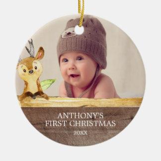 1r ornamento del navidad de la foto del bebé lindo
